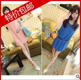 2013 summer women's new arrival plus size vest chiffon one-piece dress elegant short skirt(China (Mainland))