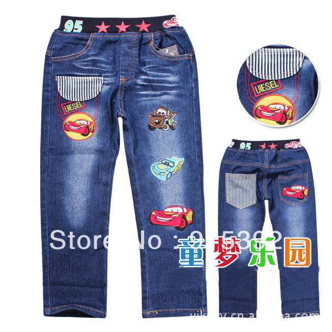 2012 NEW DESIGN baby kids jeans embroidery cartoon cars jeans long pants, denim kids trousers casual clothes FREE SHIPPING(China (Mainland))