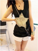 NEW five stars thin chiffon vest women's sleeveless tanks free shipping