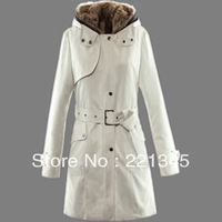 women's wool liner trench outerwear medium-long slim wadded jacket overcoat