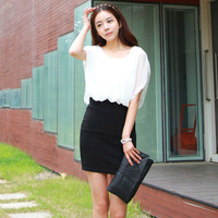 2013 summer new women's dress chiffon summer package hip Puff bottoming skirt big yards