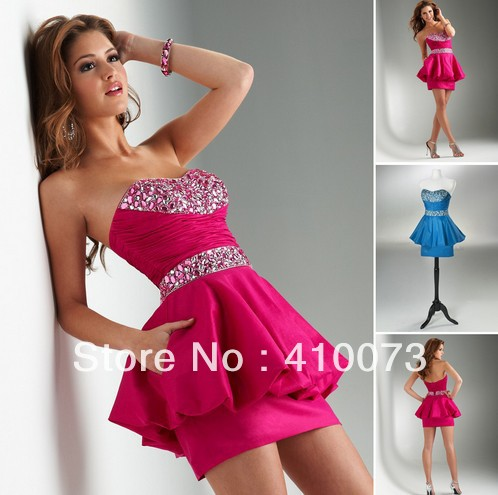 free shipping good quality short beaded dress(China (Mainland))