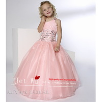 Free Shipping Off The Shoulder  Sleeveless Beaded Floor-length Pink Wedding Flower Girl Pageant Dress G024 free shipping