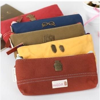 FREE SHIPPING!  Wholesale,Cute Creative Brand New Soft Canvas Pencil Case/Pencil Bag/Pen Pocket/Cosmetic Bag-4colors