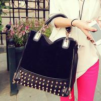 2014 new fashion rivet package stitching flannel women's shoulder bag brand fashion handbag Rivet Studded Messenger Bag TCM002