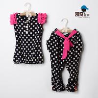 2013 children's clothing female child summer dot sleeveless set dot harem pants casual set