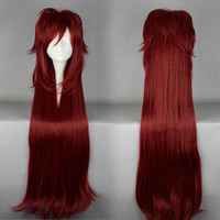 Free Shipping 90cm Long Black Butler-Crell Sutcliff Dark Red Anime Cosplay Costume Wig