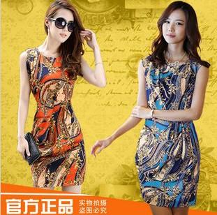 bodycon 2014 New fashion women summer dresses print floral slim Chiffon dress plus size Sleeveless O-neck  cat dress vestidos