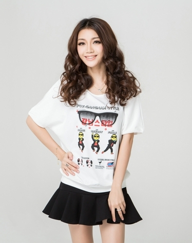 Free shipping big size white t-shirt women PSY GANGNA style printed tops tee shit loose ladies batwing short sleeve L -XXXL(China (Mainland))