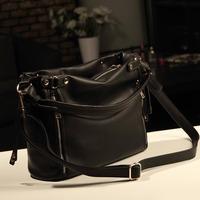 Freeshipping 2013 women's handbag black bucket bag fashion vintage fashion handbag one shoulder cross-body bags female
