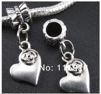 Free Shipping 120pcs Tibetan Silver Heart Dangle Beads Fit European Charm Bracelet 26x12mm For Jewelry Making