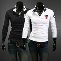 Free shipping 2013 spring new Slim casual men's classic RL printing lapel POLO shirt