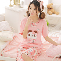 Free Shipping Cotton Pajamas Women Ladies Nightwear Cotton Short Sleeve  Hello Kitty Pink Female Sleepwear Pullover L XL XXL