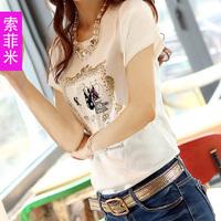 Hot sale Women's t-shirt female summer short-sleeve basic shirt slim modal t-shirt women's  freeshipping