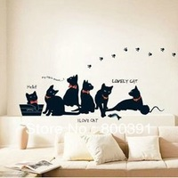 """1PCS Small size Hot Sell! SIZE30*60(13""""*24"""")  Lovely Black Cats Home Decor Art Mural Kids Room Nursery Wall STICKER"""