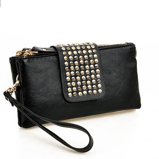 Korean Style PU Leather fashion Handbag designer Rivet Lady wallet Clutch Purse Evening Bag drop shipping(China (Mainland))