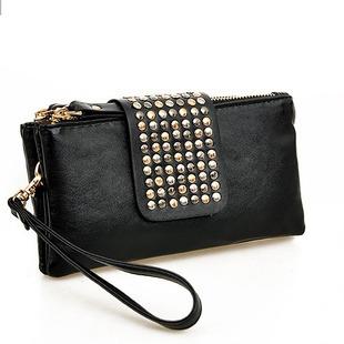 Korean Style PU Leather fashion Handbag designer Rivet Lady wallet Clutch Purse Evening Bag drop shipping(China (Mainland))