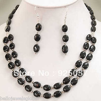 "BEAUTIFUL! BLACK ONYX NECKLACE +EARRING SET 13X18MM 18-19""Fashion jewelry"