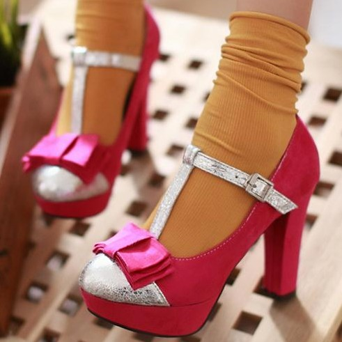 Spring single shoes high-heeled shoes thick heel black women's shoes single shoes platform round toe leather(China (Mainland))