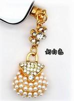 Handmade Diamond princess pearl bag Style Ear Cap 3.5mm Plug Anti-dust