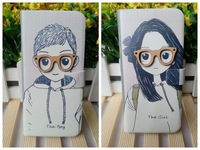 Hot sale couple for Samsung Galaxy S2 I9100 Galaxy S3 I9300 Lovely glasses Girl Boy 3D leather flip Magnet cover case