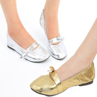Women Lady Girls' Soft Heel Bow Tie PU Belly Dance Shoes Flat Shoes Slippers 35-40 Size # L035462