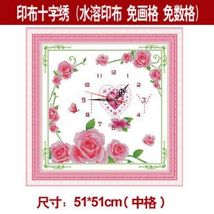 Stella free shipping Print cross stitch crystal love kit garishness rose watches and clocks series