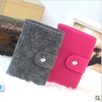 Eco-friendly vintage wool felt 24 card pack  protector women's multi handbag card holder bank box card bag free shipping