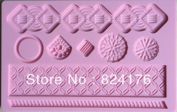 Free shipping Fondant tool baking mold silicone embossing die sugar Arts flower