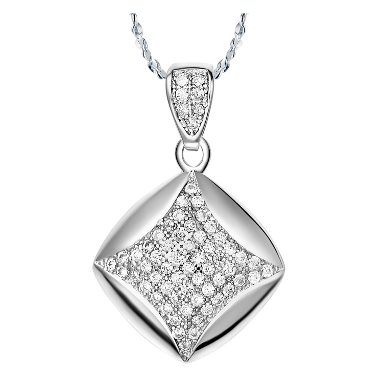 Exquisite tendy  brilliant full crystal square pendant 18k white gold plated necklace beautiful jewelry Free shipping