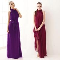 2014 fashion ultra long sexy stand collar chiffon one-piece dress green pink red purple black girl party dress free shipping