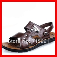2013 free shipping wholesale cut out open toes boots cheap mule shoes genuine leather sandals men brand
