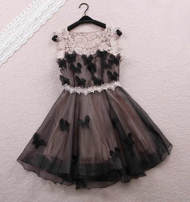 2013 spring sweet 3d three-dimensional flower organza bow dress one-piece dress lace chiffon skirt(China (Mainland))