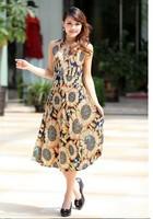 2013 women's New  Fashion Free Shipping  Sunflowers Printed V-neck Sleeveless Long Dress Yellow  Size L/XL/XXL/XXXL