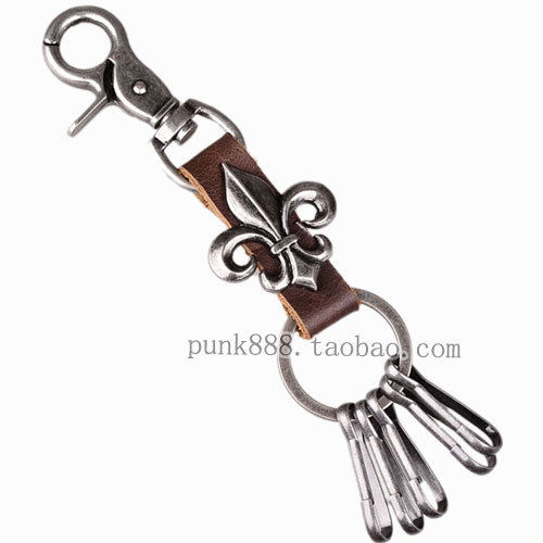 Personalized metal keychain key chain punk male keychain cowhide key ring punk-k5(China (Mainland))
