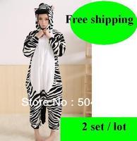 Free shipping (2 set/lot) New Unisex hooded Pajamas Anime zebra Cosplay Costumes Animal Onesies Pajamas size S M L XL