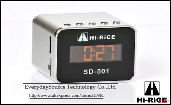 Hi-RiCE SD-501 mini antenna radio alarm clock characters lcd display, U-disk TF card media speaker DHL / TNT shipping(China (Mainland))