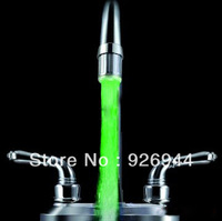 2013 Free shipping !!NEW  Temperature Sensor 3 Color RGB Glow Shower Waterfall LED Light Water Faucet +adapter ,for your health