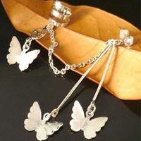 Free Shipping #134 Punk Style Alloy Butterfly Tassels Earring Clip Ear Cuff Jewelry Wholesale 24pcs/lot