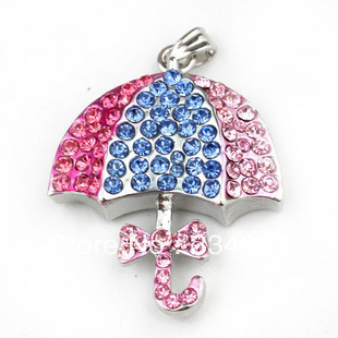 Cute Diamond Jewelery Crystal Umbrella pendrive Gift 2GB/4GB/8GB/16GB USB2.0 Full Flash Memory Stick Pen Drive Free shipping(China (Mainland))
