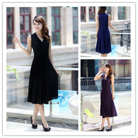 2013 women's New  Free Shipping  Maxi Size Pure Color V-neck Long Evening Dress  Size L/XL/XXL/XXXL  BJ13042314
