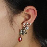 #132 Free Shipping Vintage Metal Rhinetone Flower Ear Cuff Stud Earrings For Lady Wholesale 24pcs/lot
