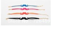 Black mustache charm bracelet free shipping