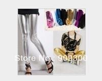Free shipping 12pcs/lot  New sexy women's foot less Metallic leggings Liquid wet shiny dance pants