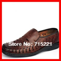 2014 free shipping men cut out jelly flat shoes genuine leather cover toes boots summer platform sandals new