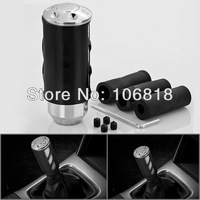 Sport Style Black Anodized Fine Polished Billet Aluminum MT Manual Transmission Gear Shift Knob Race Shifter Cover Coupe Car SUV