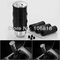 Sport Style Black Anodized Fine Polished Billet Aluminum MT Manual Transmission Gear Shift Knob Race Shifter Cover Coupe Car SUV