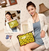 wuhua 2013 spring and summer japanned leather color block polka dot cosmetic bag professional make up bag multi purpose