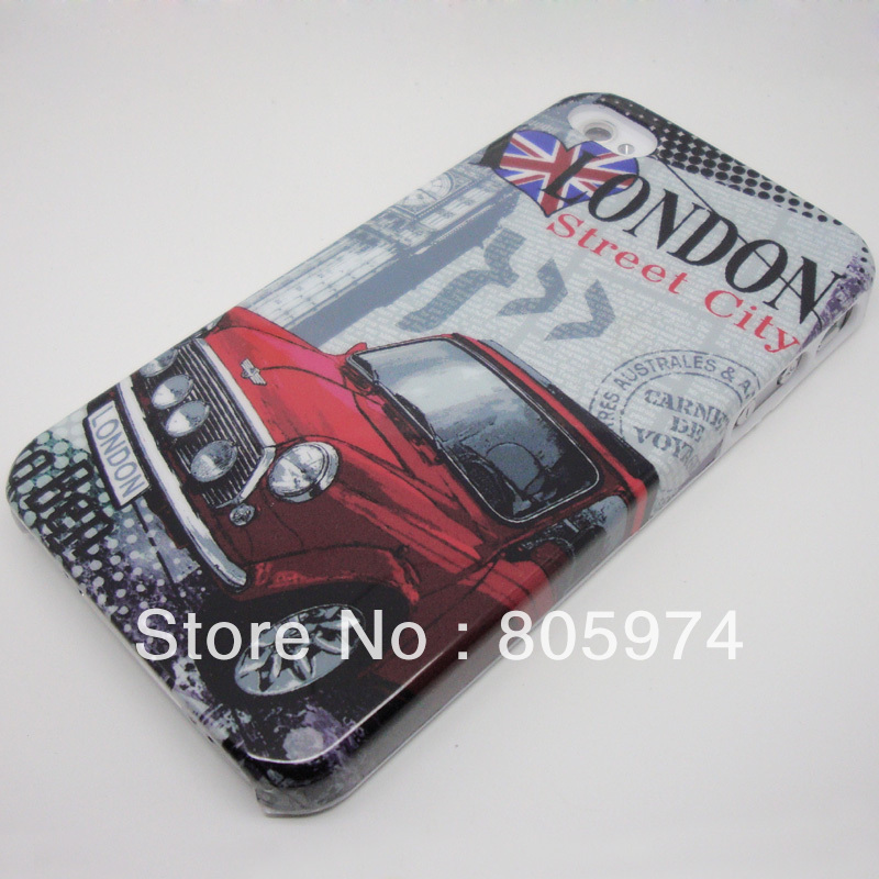 50pcs Brand New Retro Look London City Symbol Red Car Hard Back Case Cover For iPhone 4 4G 4S Free shipping(China (Mainland))