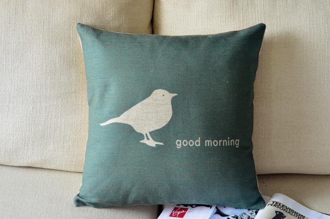 Atacado Ikea estilo minimalista pássaro dos desenhos animados fresco fronha Cotton linen decorativa almofadas / almofada capa grátis frete(China (Mainland))